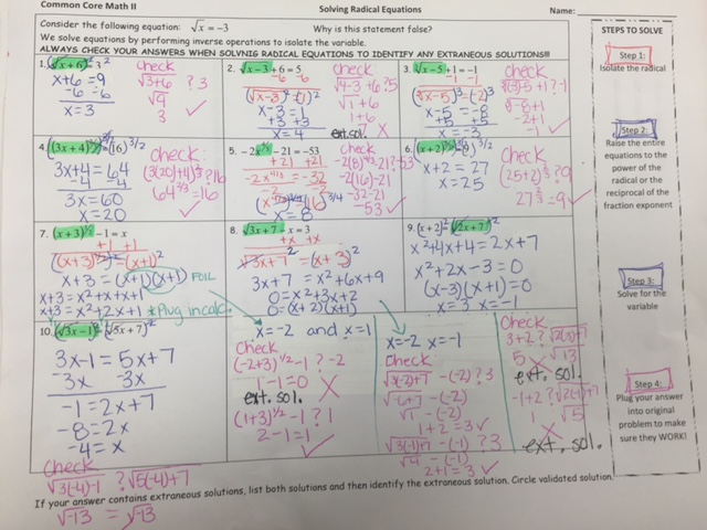 Class History Ms Chapmans Math 2 – Solving Radical Equations Worksheet with Answers